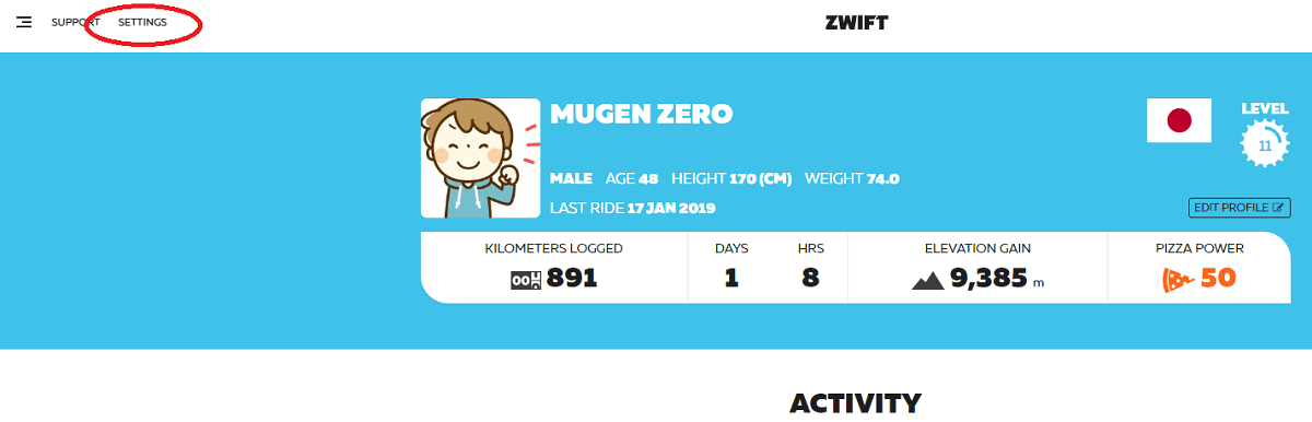 Zwiftマイページの画像