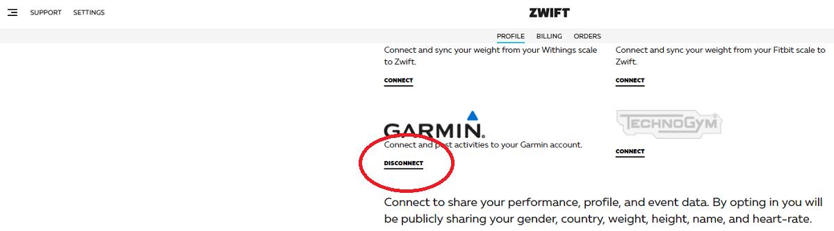 Zwiftとガーミンのアカウント連携設定