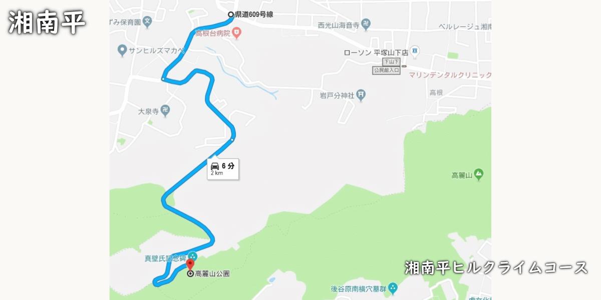 湘南平ヒルクライムルート地図の画像