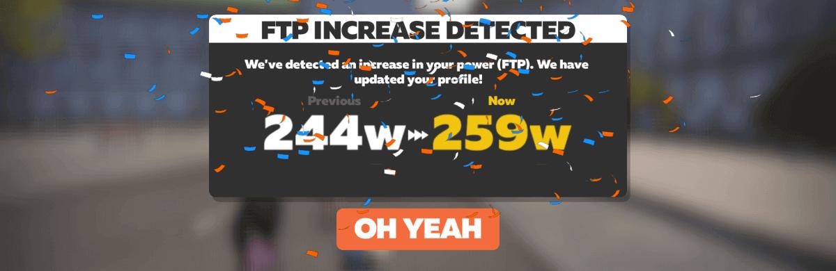 FTPが259Wに向上したとの通知画像