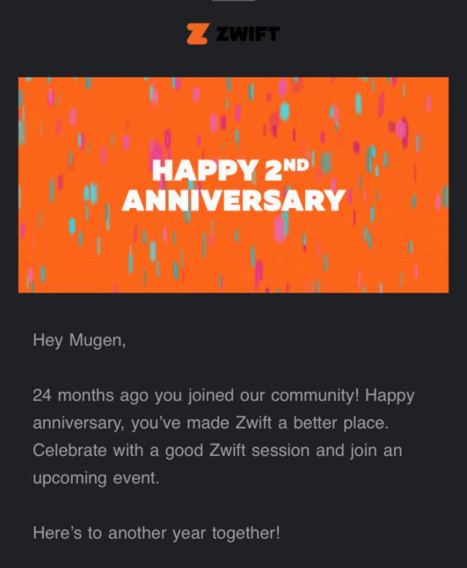 Zwiftから届いた、2周年お祝いメール