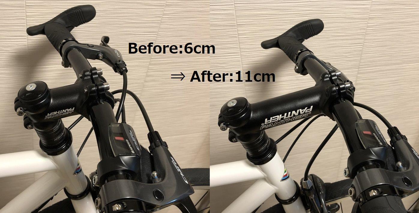 ステムを替えた自転車のハンドル画像
