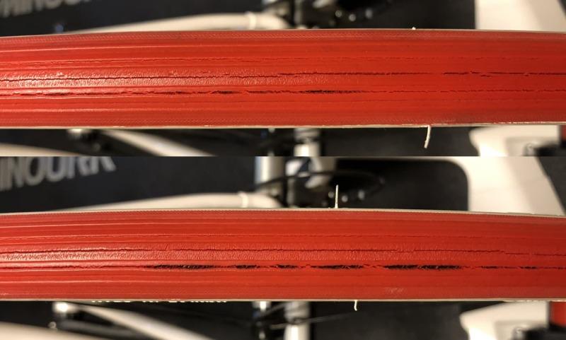 コペルトンタイヤのひび割れ状況を伝える画像