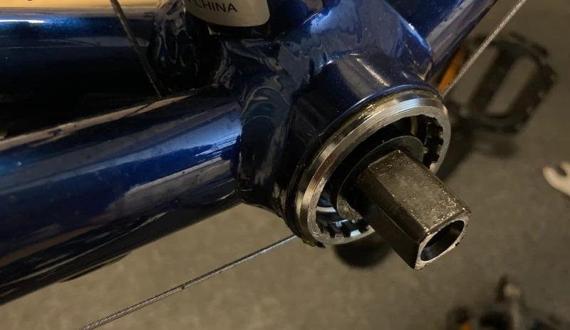 110mmのBBを装着した状態を説明する画像