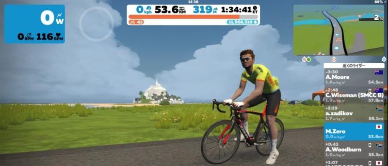 iPhone8のZwift画面、モンサンミッシェルを紹介している画像